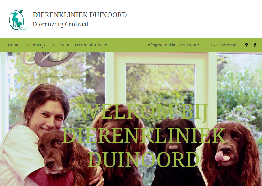 Dierenkliniek Duinoord info@dierenkliniekduinoord.nl 070 365 5666 Populierstraat 51, 2565 MH Den Haag, Netherlands